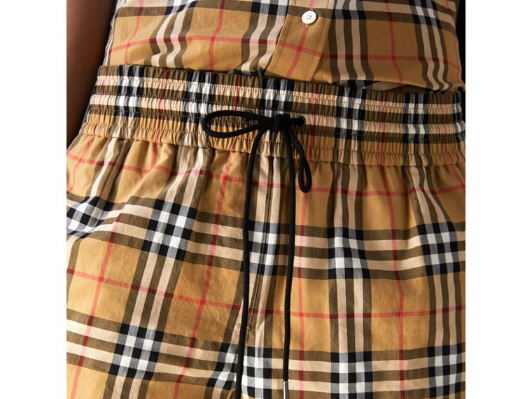 Vintage Check Drawstring Shorts in Antique Yellow - Women | Burberry United Kingdom - cell image 1
