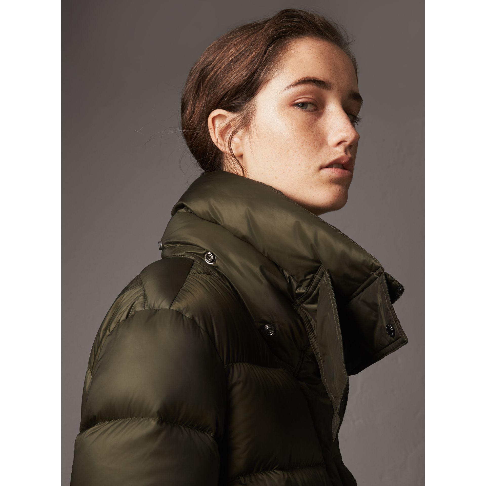 Detachable Hood Long Down-filled Puffer Coat in Olive - Women | Burberry - gallery image 4