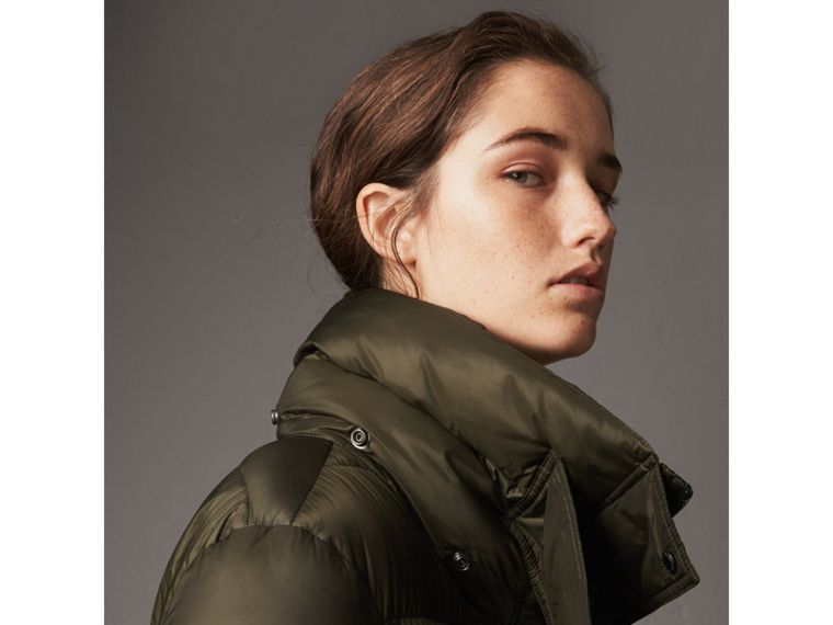 Detachable Hood Long Down-filled Puffer Coat in Olive - Women | Burberry - cell image 4