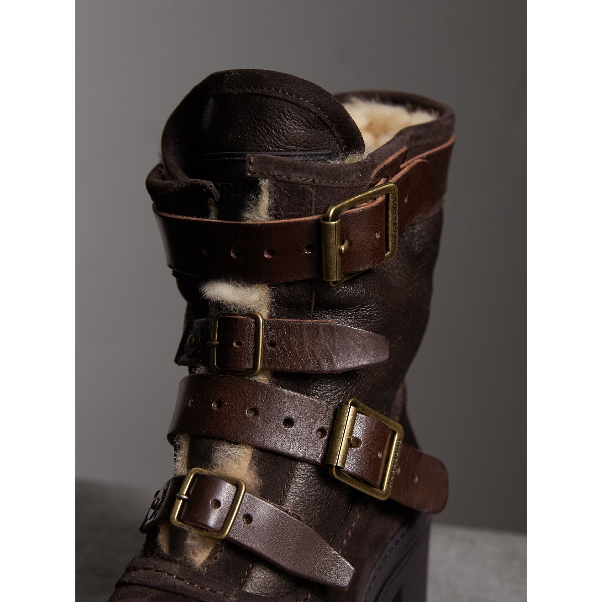 Buckle Detail Suede and Shearling Boots in Charcoal Brown - Women | Burberry Singapore - gallery image 2