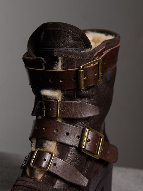 Buckle Detail Suede and Shearling Boots in Charcoal Brown | Burberry United States - cell image 1