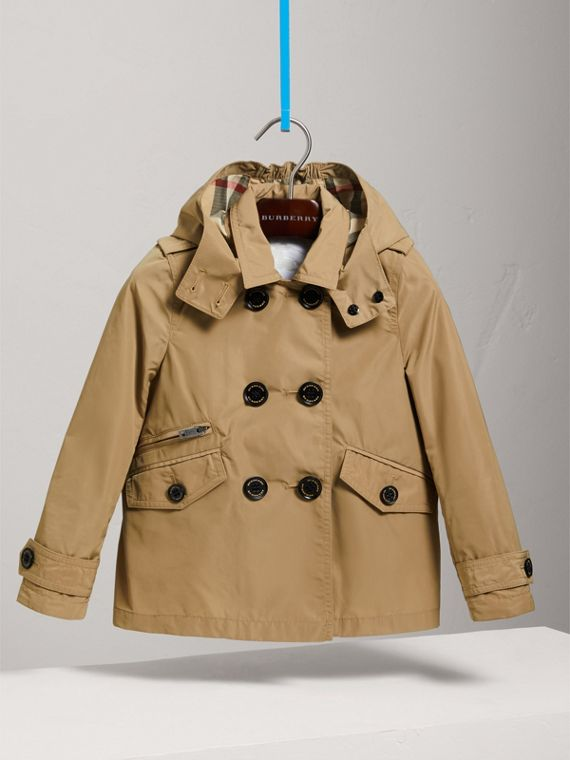 Detachable Hood Shape-memory Taffeta Trench Coat in Honey