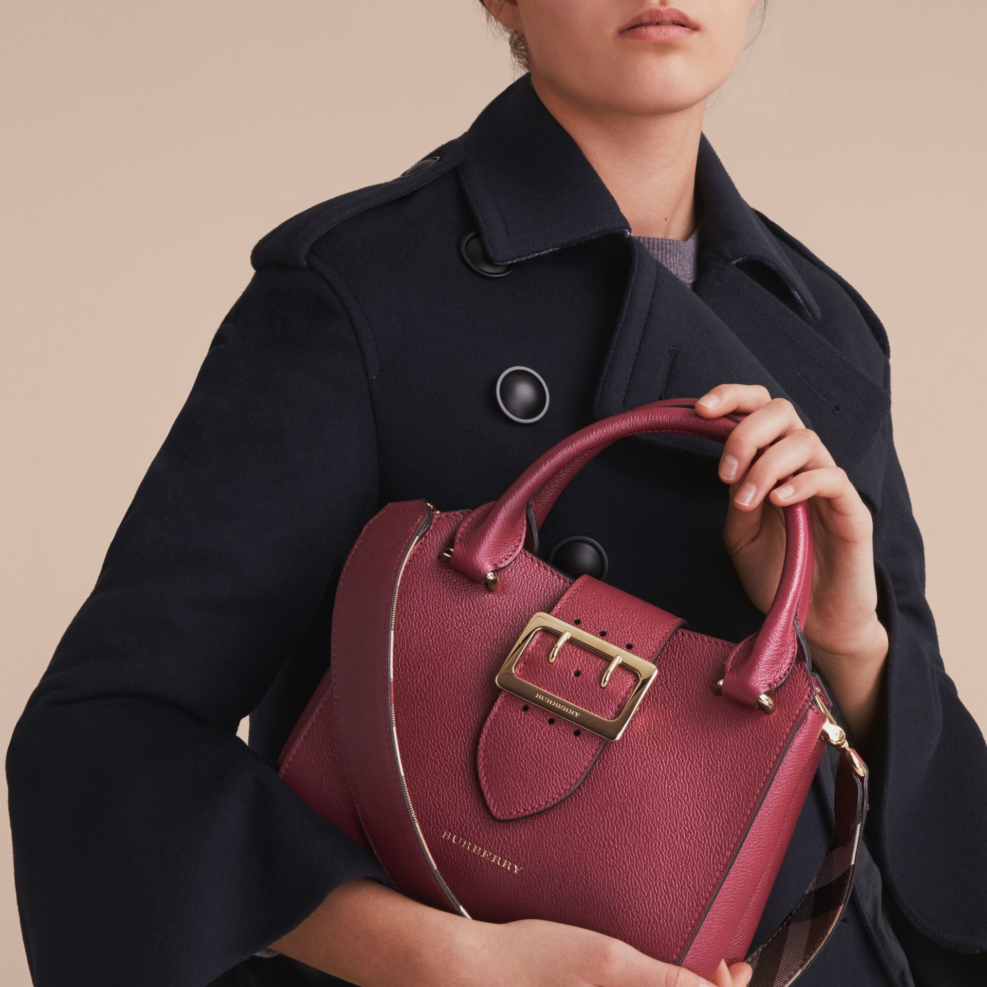 The Small Buckle Tote in Grainy Leather in Dark Plum - Women | Burberry United Kingdom - gallery image 2