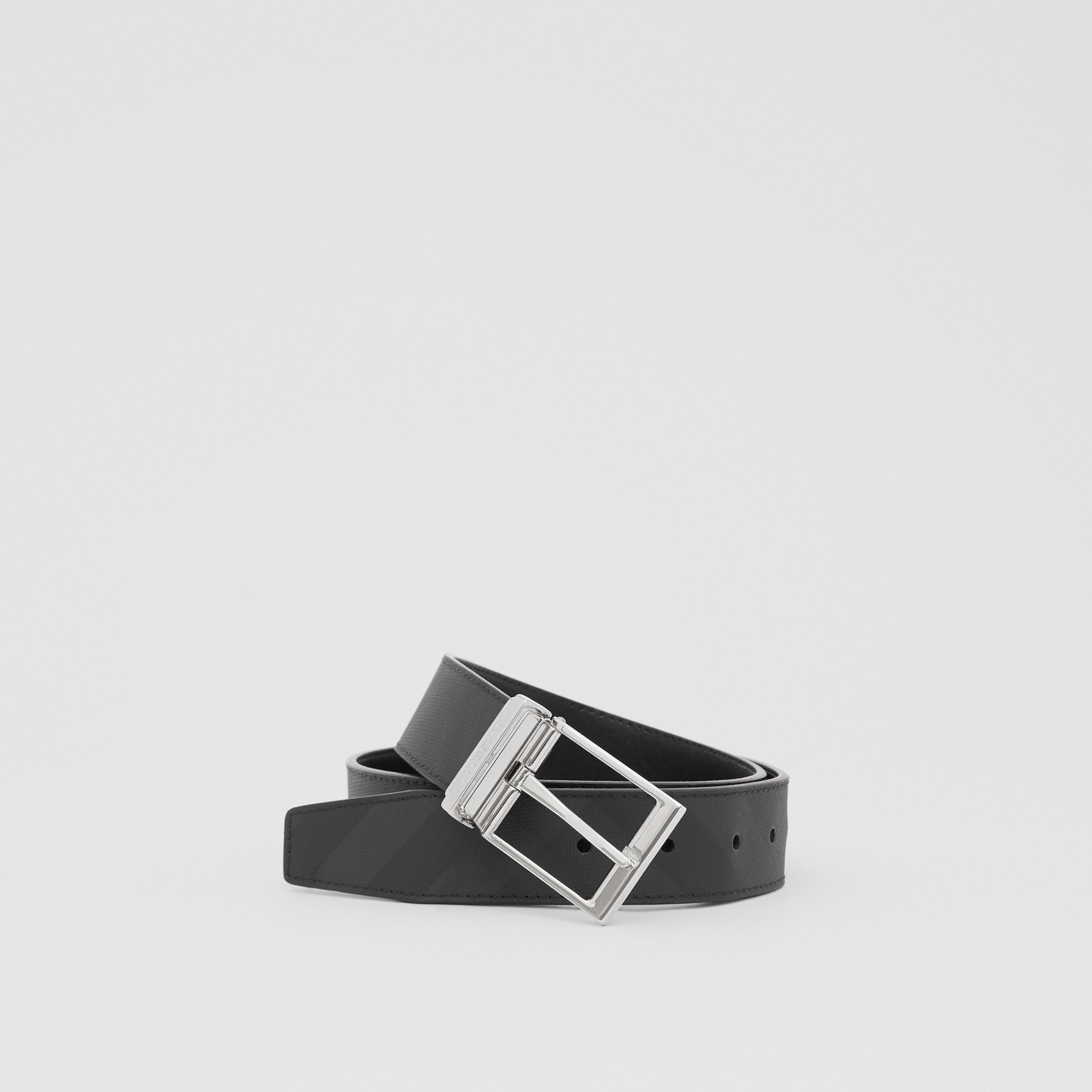 Reversible London Check and Leather Belt in Dark Charcoal/black - Men | Burberry - 1