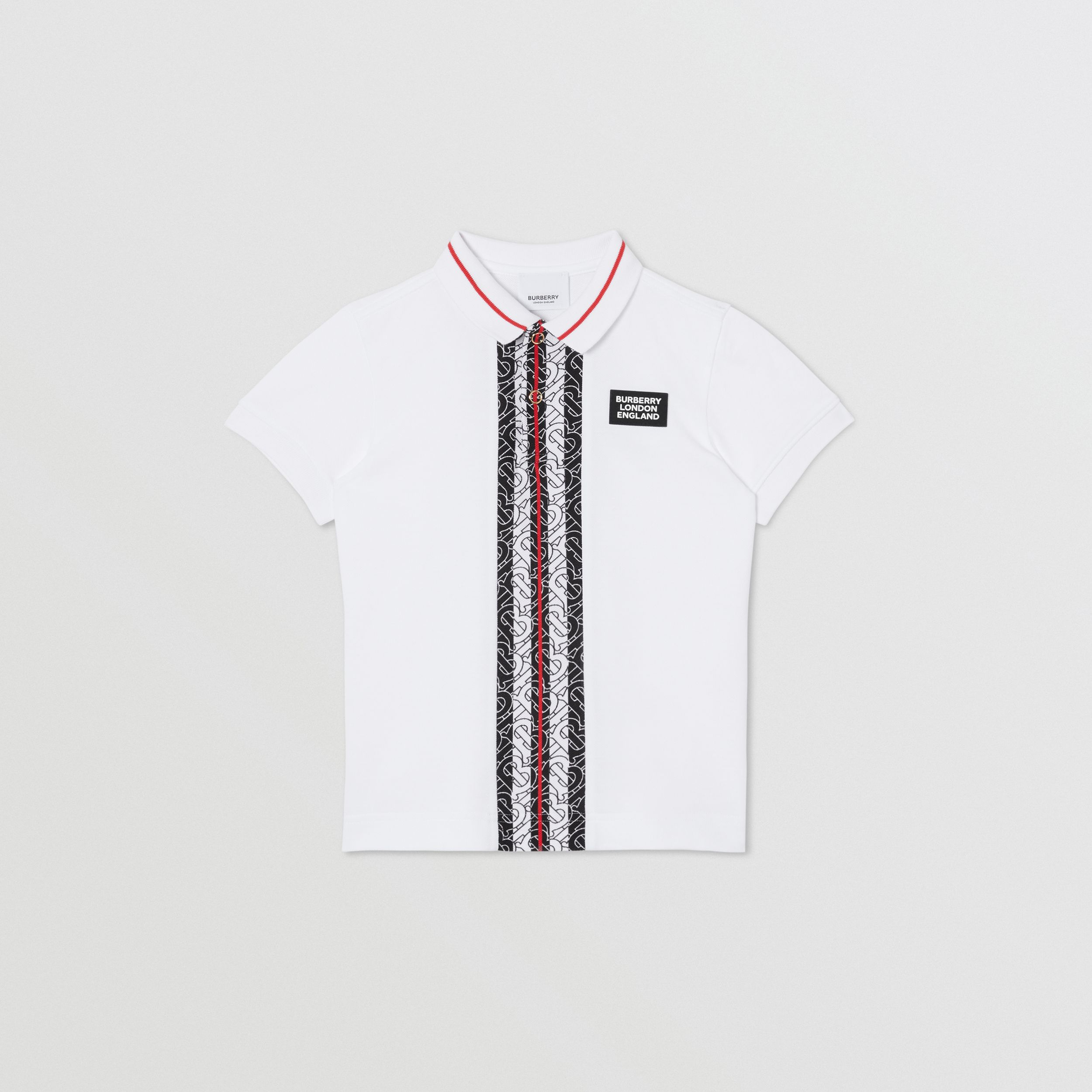 Monogram Stripe Cotton Piqué Polo Shirt in White | Burberry - 1