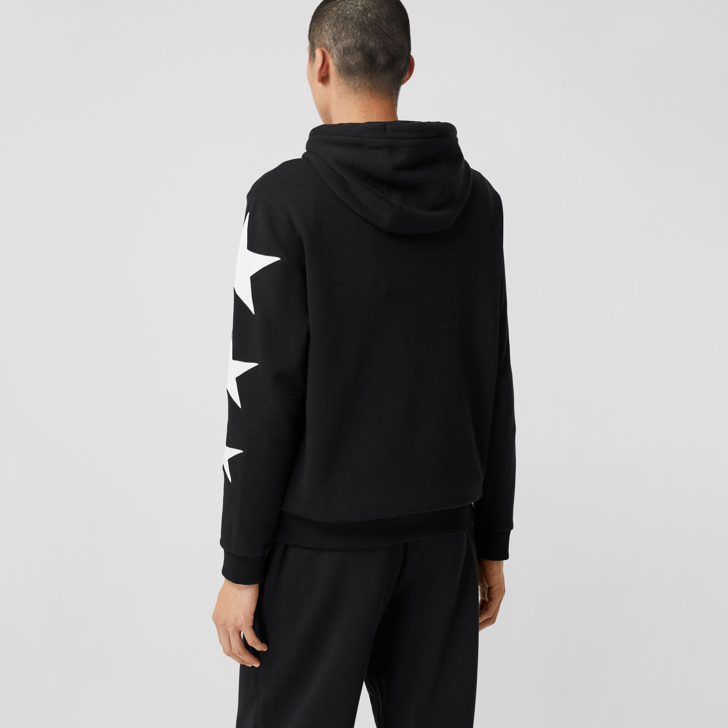 Star Motif Cotton Hoodie in Black | Burberry - 3