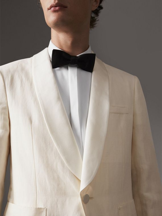 Modern Fit Shawl Lapel Linen Silk Evening Jacket in Off White - Men | Burberry - cell image 3