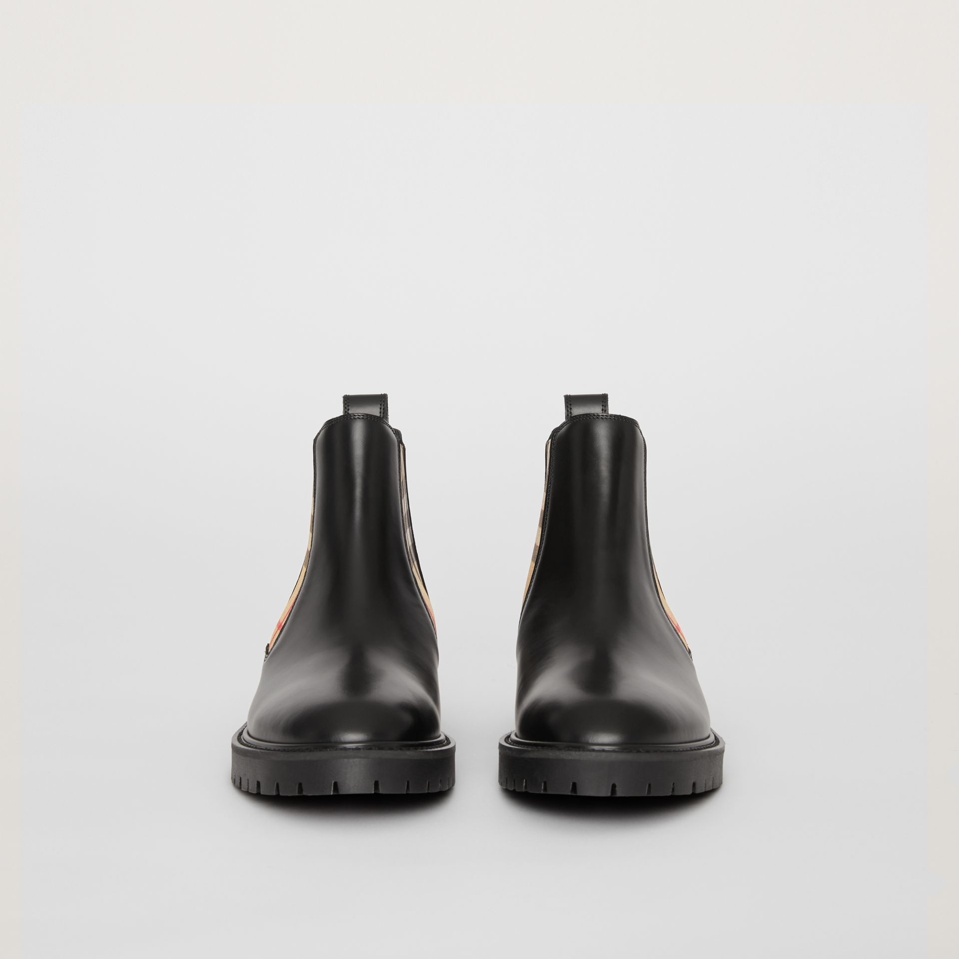 Vintage Check Detail Leather Chelsea Boots in Black - Women | Burberry - gallery image 3
