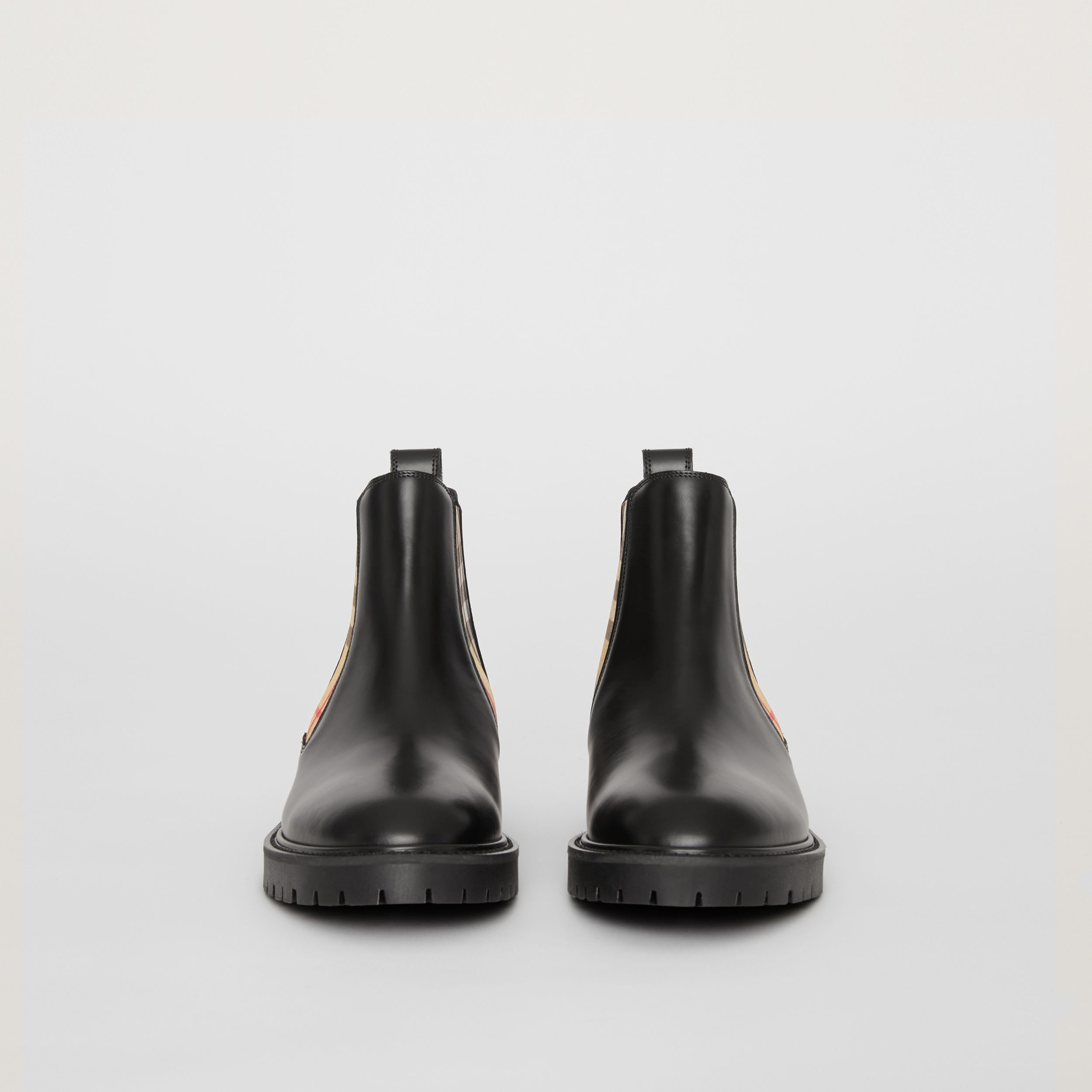 Vintage Check Detail Leather Chelsea Boots in Black - Women | Burberry United Kingdom - 4