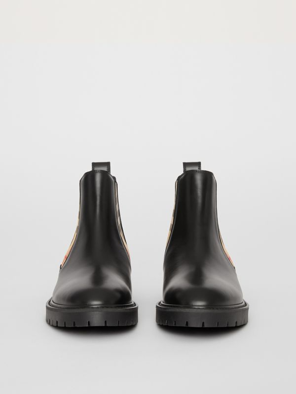 Vintage Check Detail Leather Chelsea Boots in Black - Women | Burberry Singapore - cell image 3