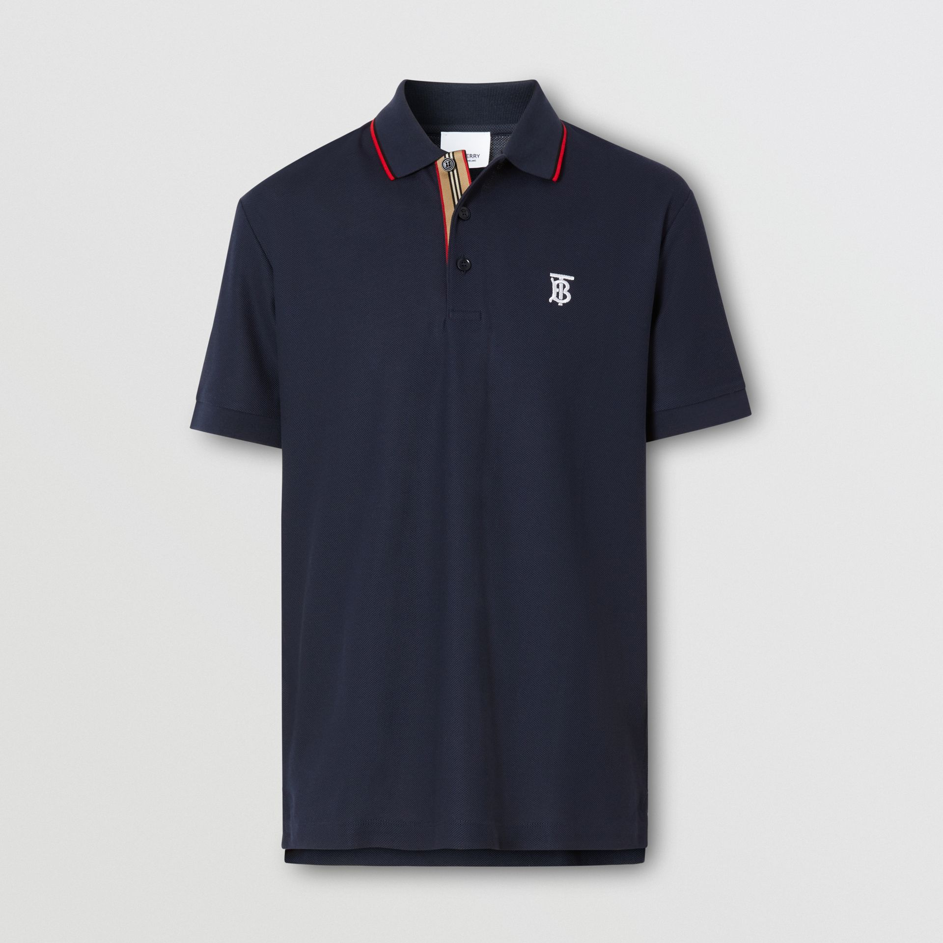 Icon Stripe Placket Cotton Piqué Polo Shirt in Navy - Men | Burberry Canada - gallery image 3