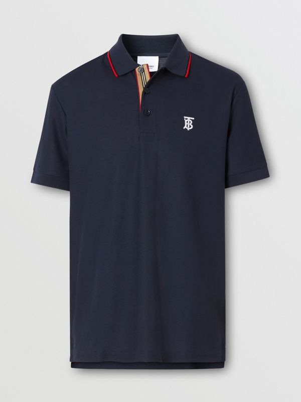 Icon Stripe Placket Cotton Piqué Polo Shirt in Navy - Men | Burberry Canada - cell image 3