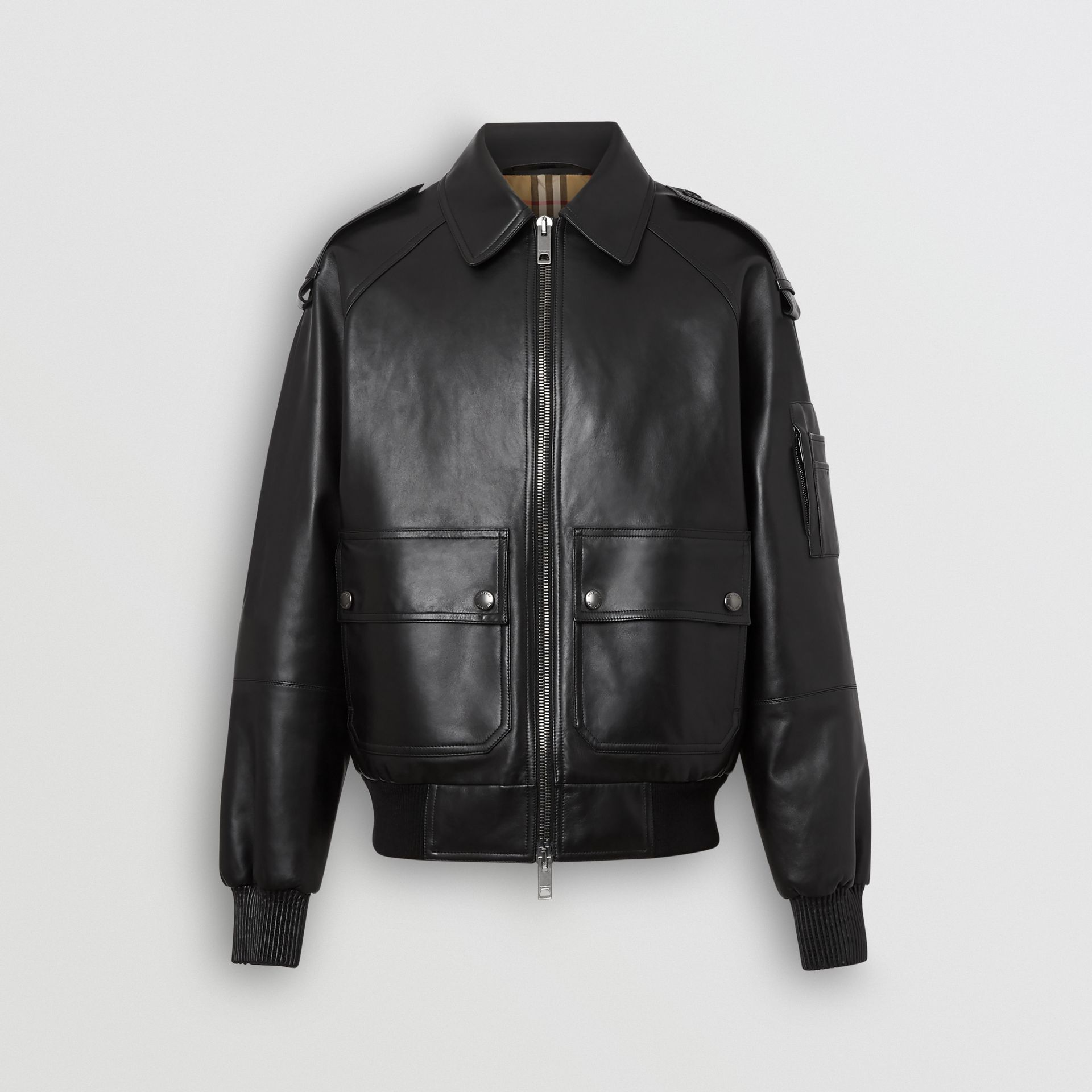 Lambskin Bomber Jacket in Black - Men | Burberry - gallery image 6