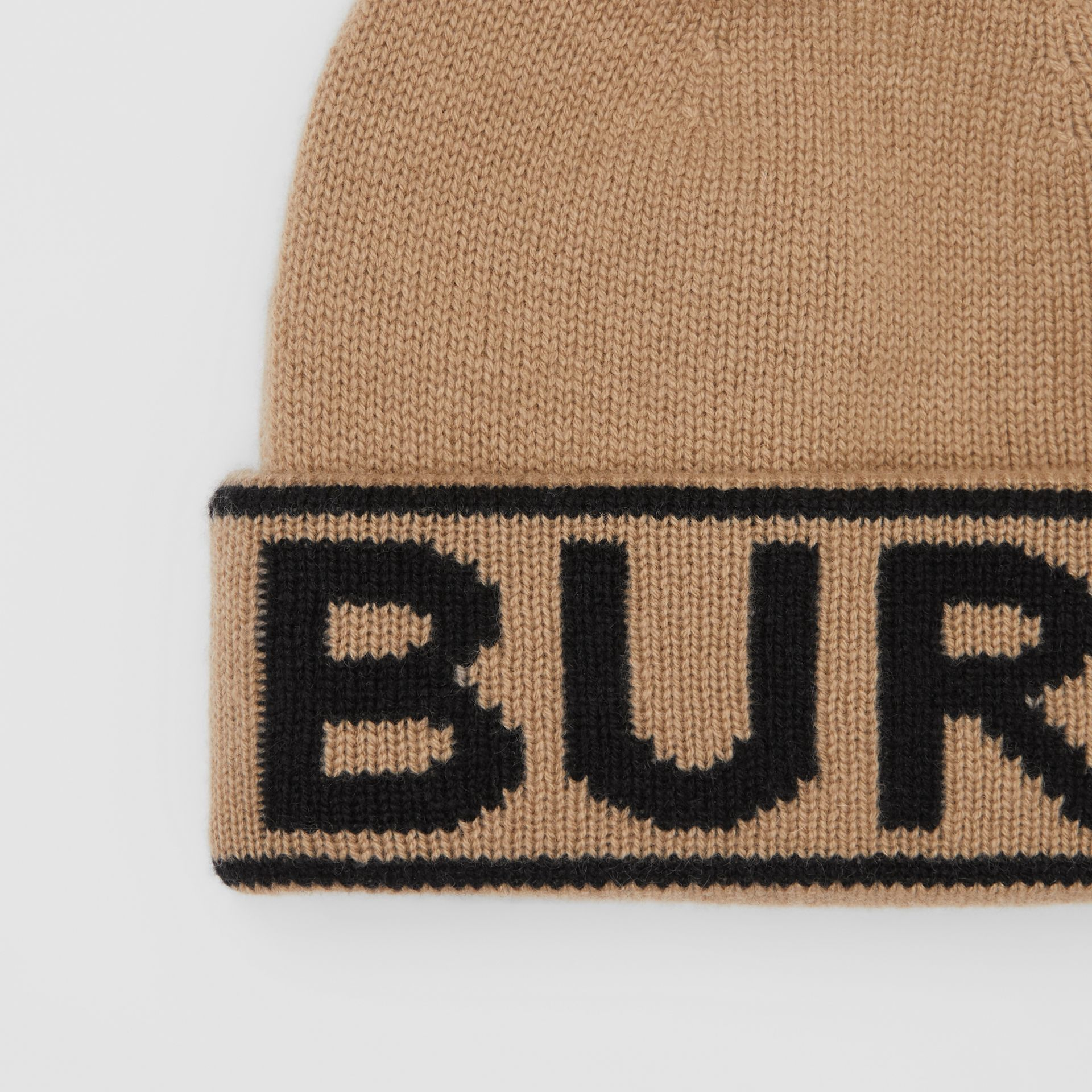 Logo Intarsia Cashmere Beanie in Archive Beige | Burberry - gallery image 1