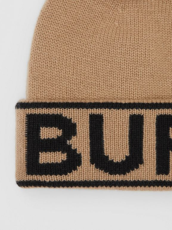Logo Intarsia Cashmere Beanie in Archive Beige | Burberry - cell image 1