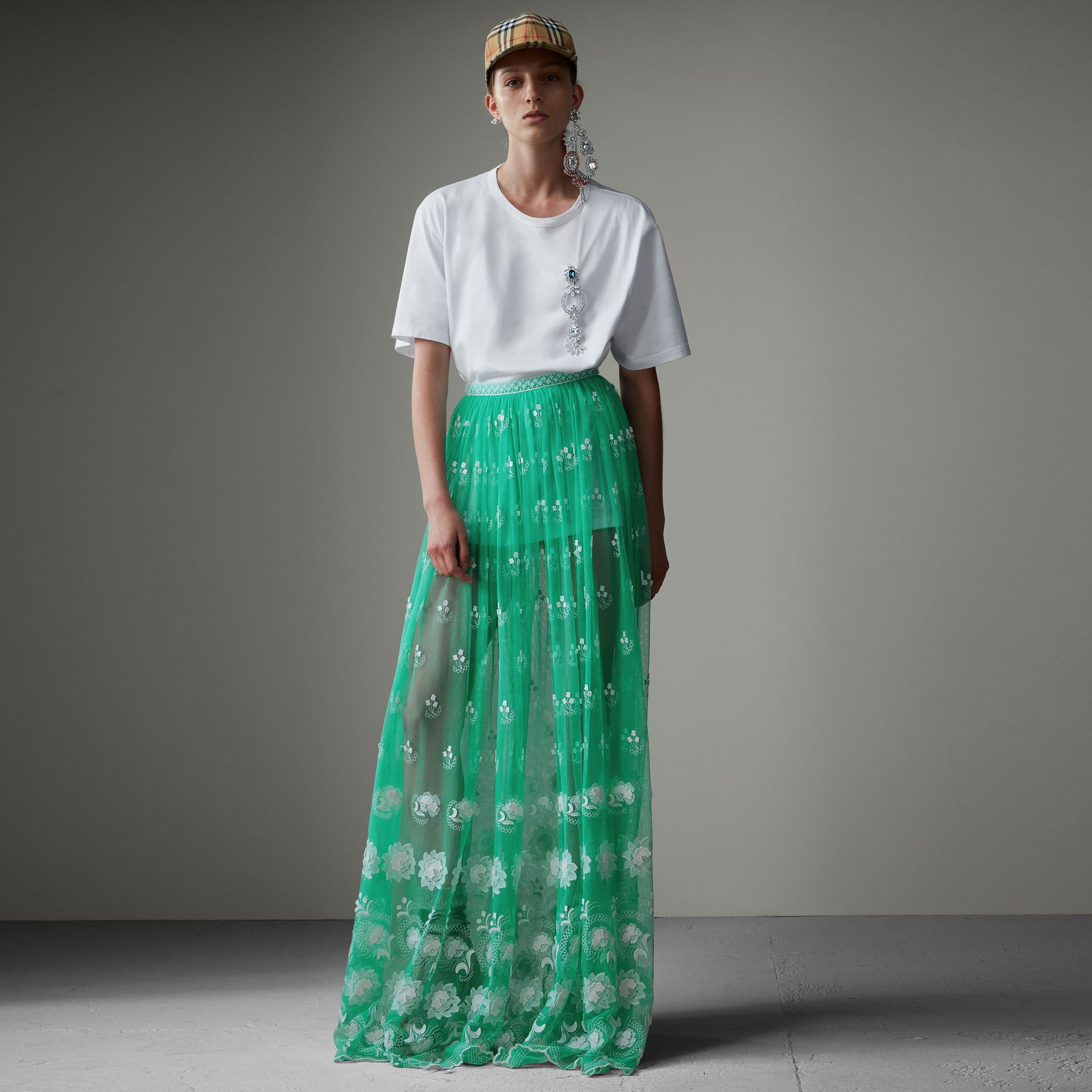 Floor-length Embroidered Tulle Skirt in Aqua Green/white - Women | Burberry - gallery image 0