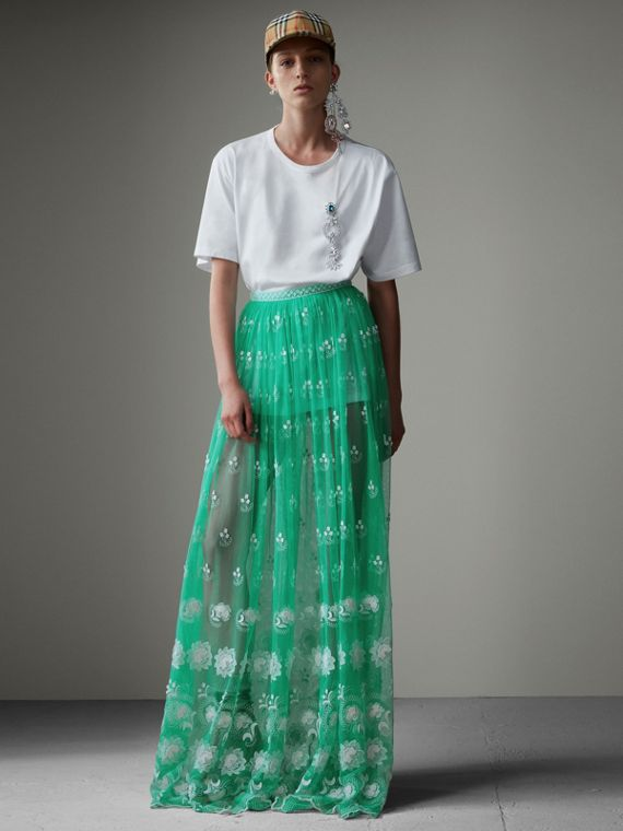 Floor-length Embroidered Tulle Skirt in Aqua Green/white