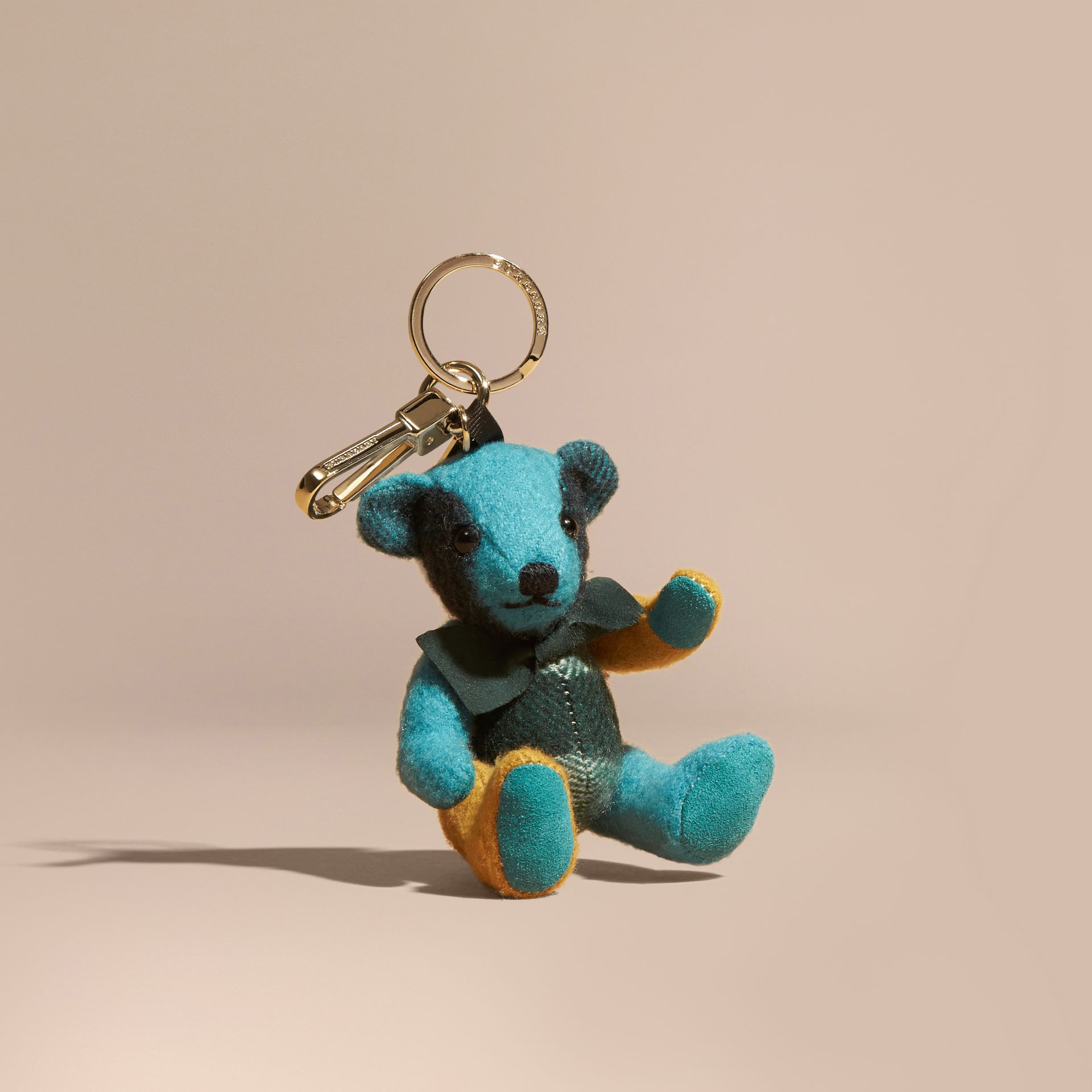 Thomas Bear Charm in Colour Block Check Cashmere Dark Aqua - gallery image 1