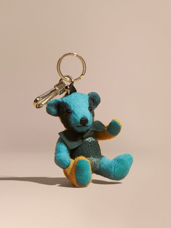 Adorno do Thomas Bear de cashmere com estampa xadrez colour block Dark Aqua