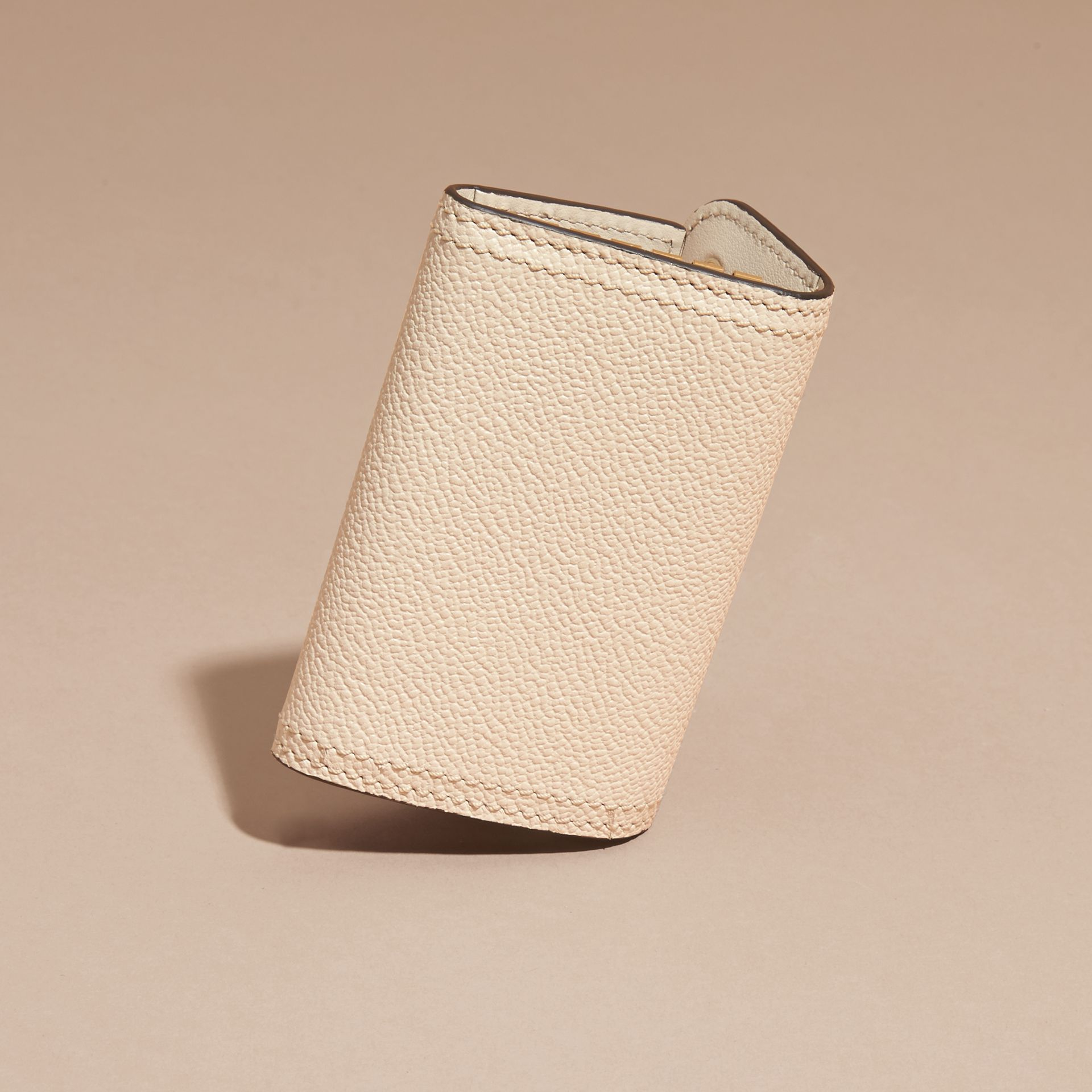 Grainy Leather Key Holder in Limestone - Women | Burberry - gallery image 4