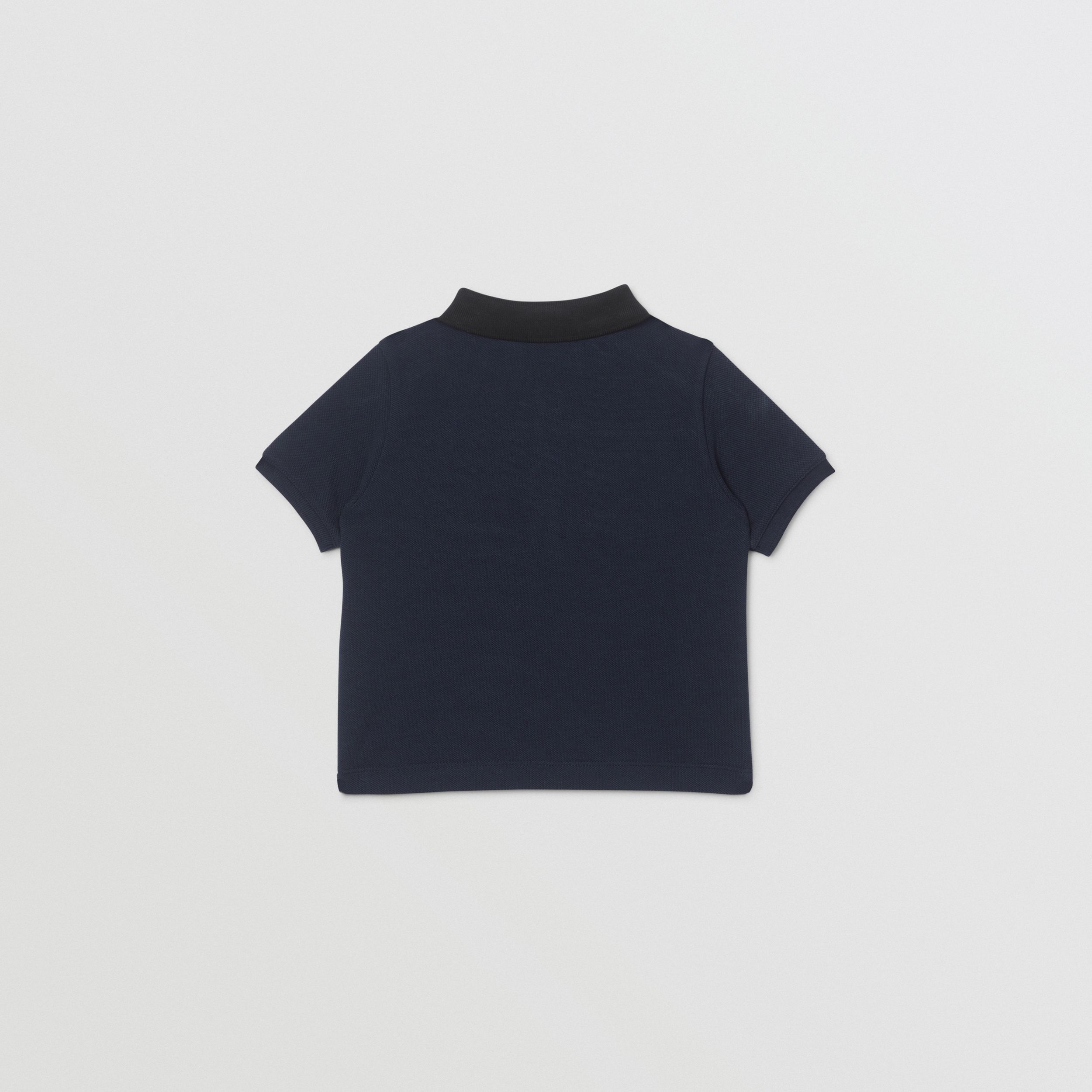 Vintage Check Panel Cotton Polo Shirt in Navy - Children | Burberry - 3