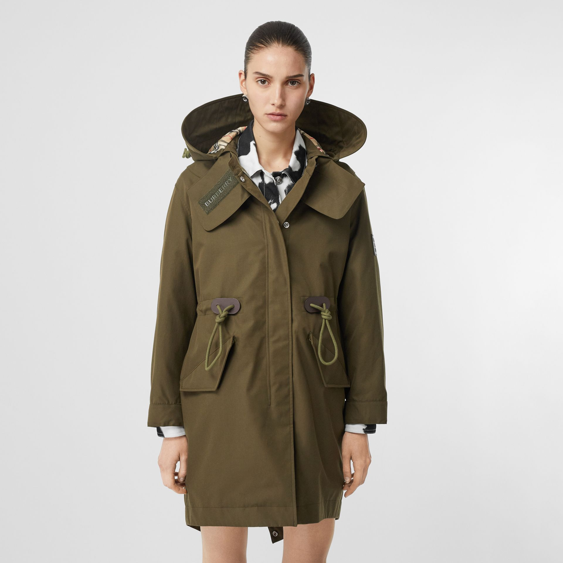 Detachable Hood Cotton Gabardine Parka in Dark Military Khaki - Women | Burberry - gallery image 6