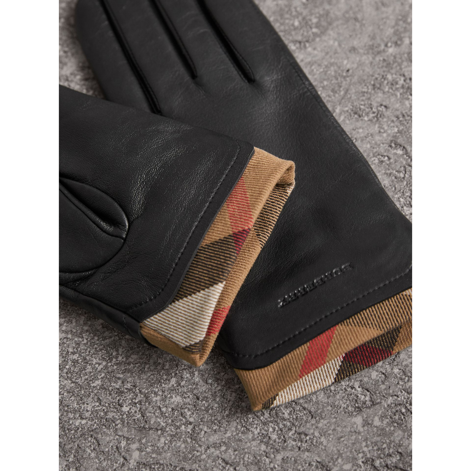 Check Trim Leather Touch Screen Gloves in Black - Women | Burberry Australia - gallery image 3