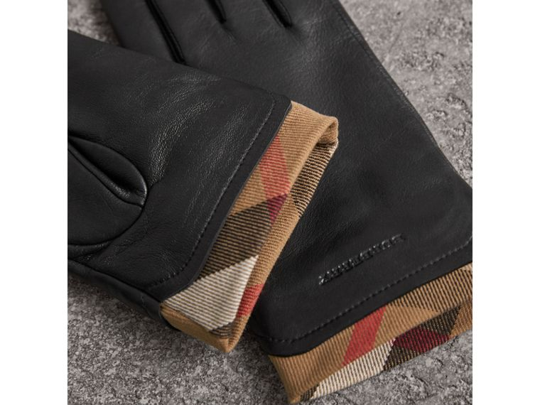 Check Trim Leather Touch Screen Gloves in Black - Women | Burberry United Kingdom - cell image 2