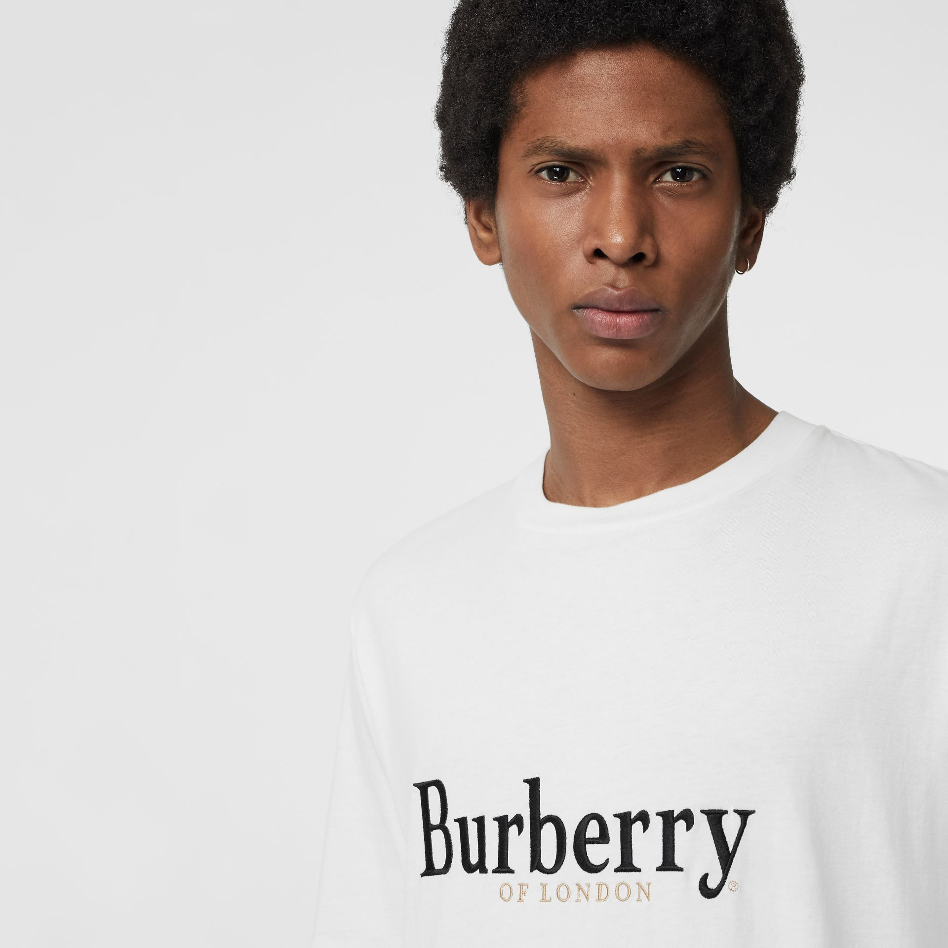 Embroidered Archive Logo Cotton T-shirt in White - Men | Burberry - gallery image 1