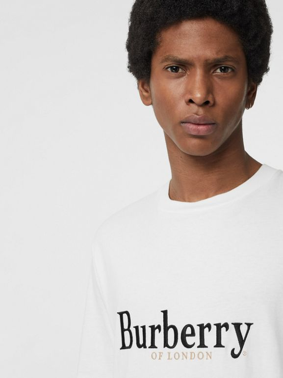 Embroidered Archive Logo Cotton T-shirt in White - Men | Burberry Australia - cell image 1