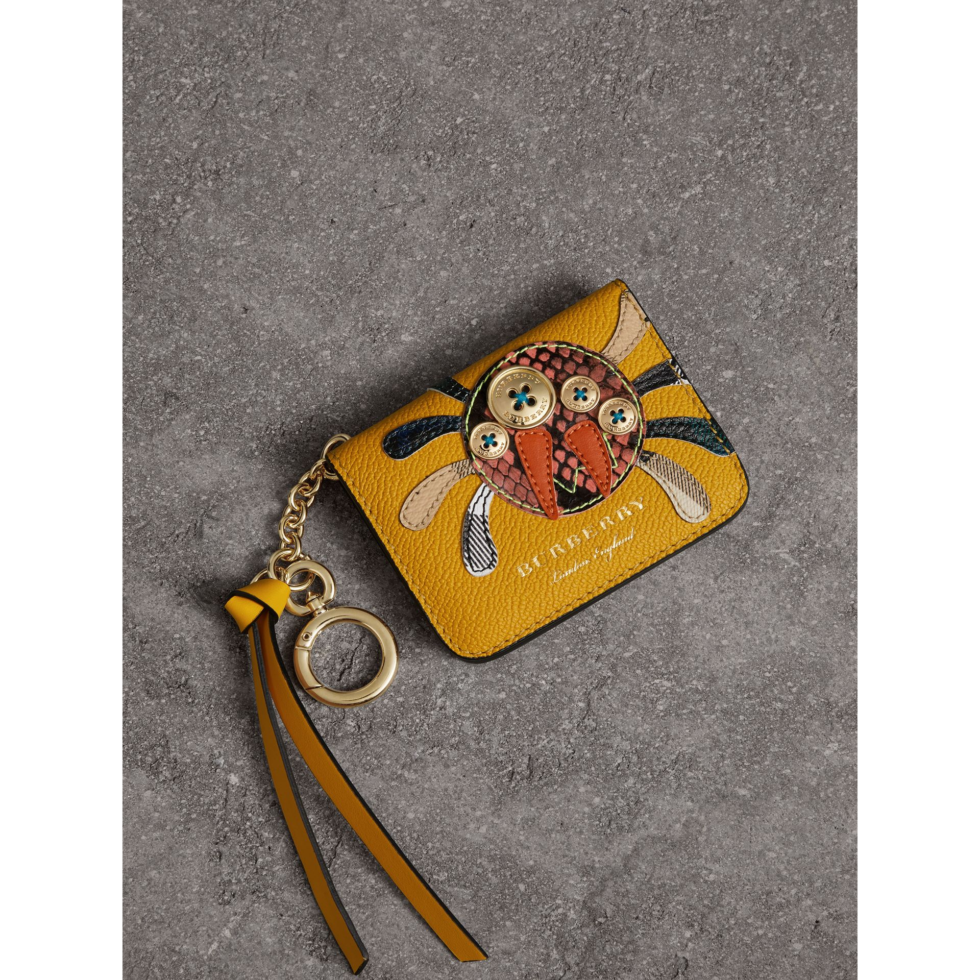 Creature Motif Leather ID Card Case Charm in Yellow Ochre - Women | Burberry - gallery image 0