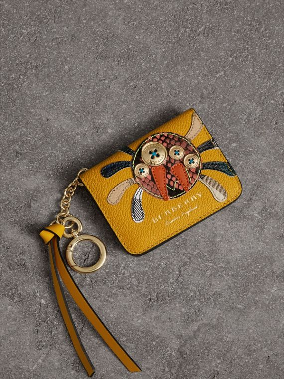 Creature Motif Leather ID Card Case Charm in Yellow Ochre