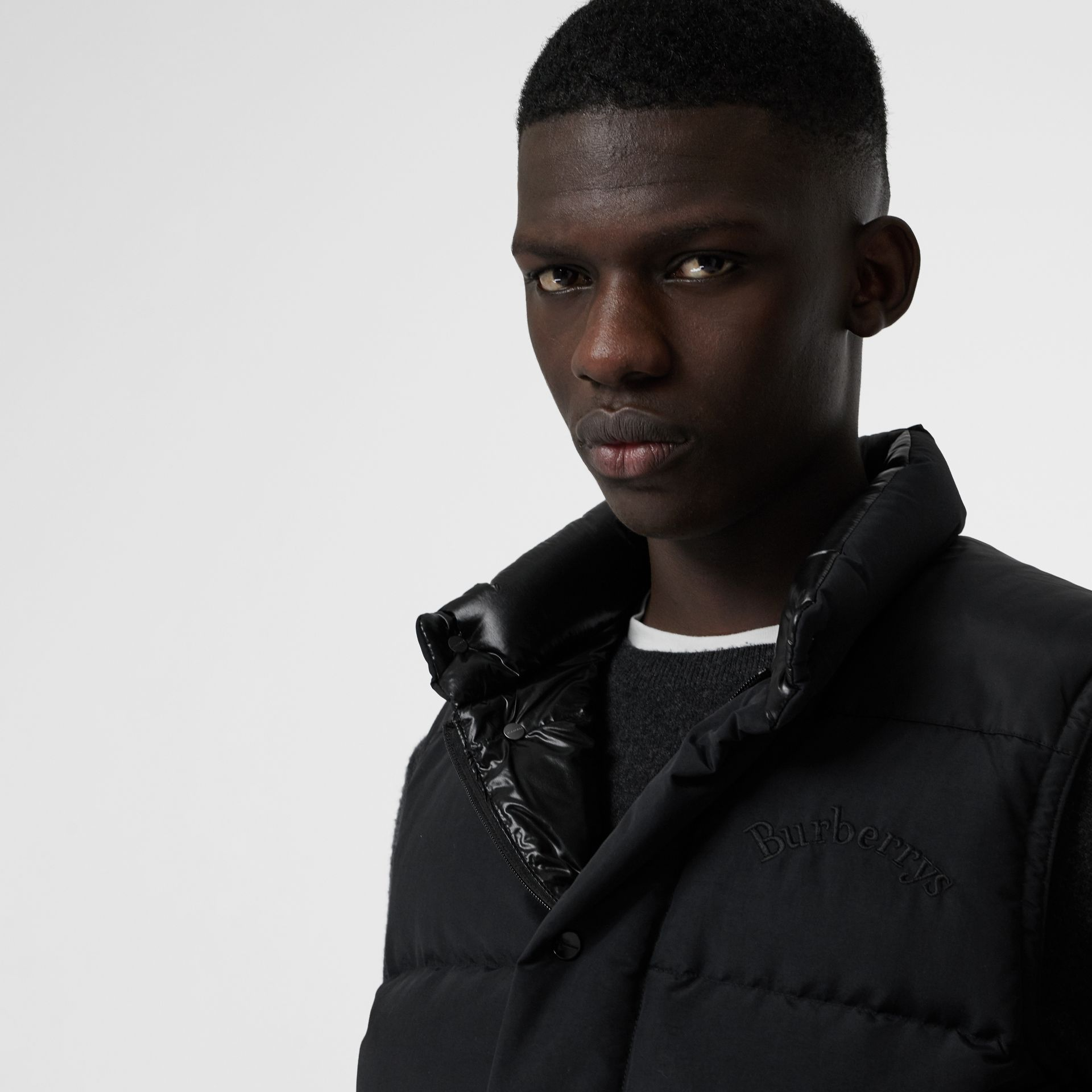 Embroidered Archive Logo Down-filled Gilet in Black - Men | Burberry United Kingdom - gallery image 1