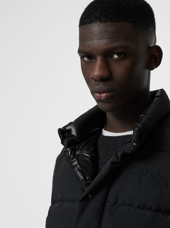 Embroidered Archive Logo Down-filled Gilet in Black - Men | Burberry United States - cell image 1