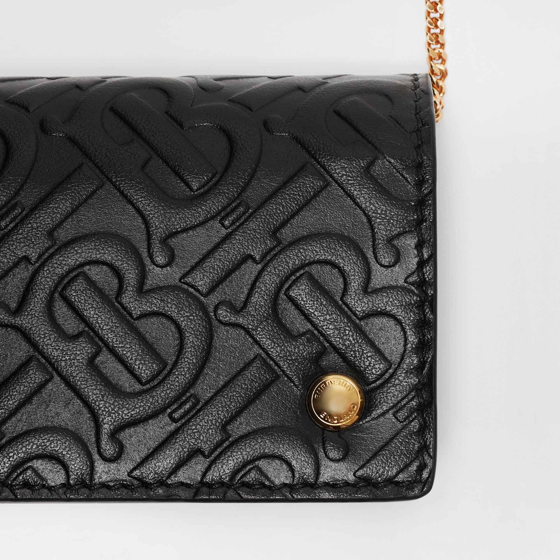 Monogram Leather Card Case with Detachable Strap in Black - Women | Burberry Hong Kong - gallery image 1