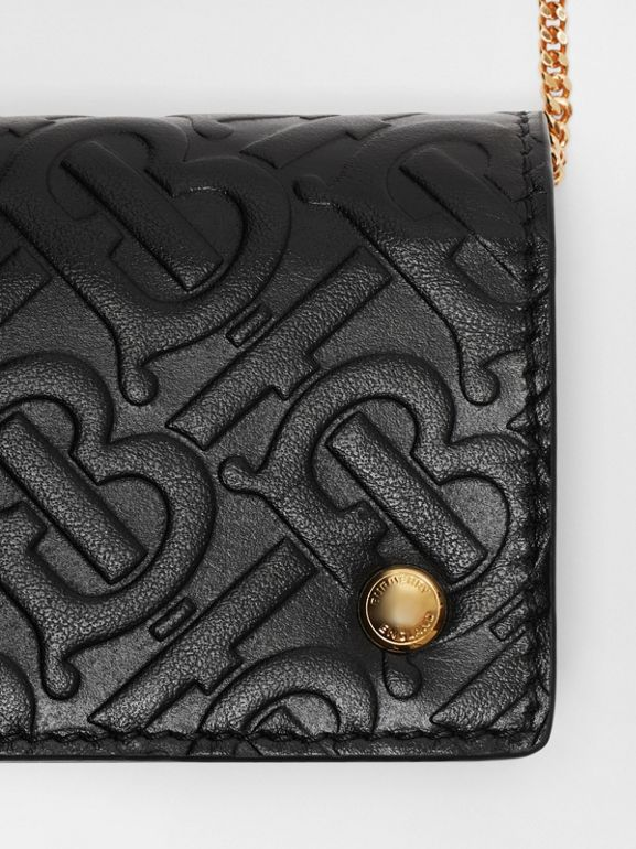 Monogram Leather Card Case with Detachable Strap in Black - Women | Burberry Singapore - cell image 1