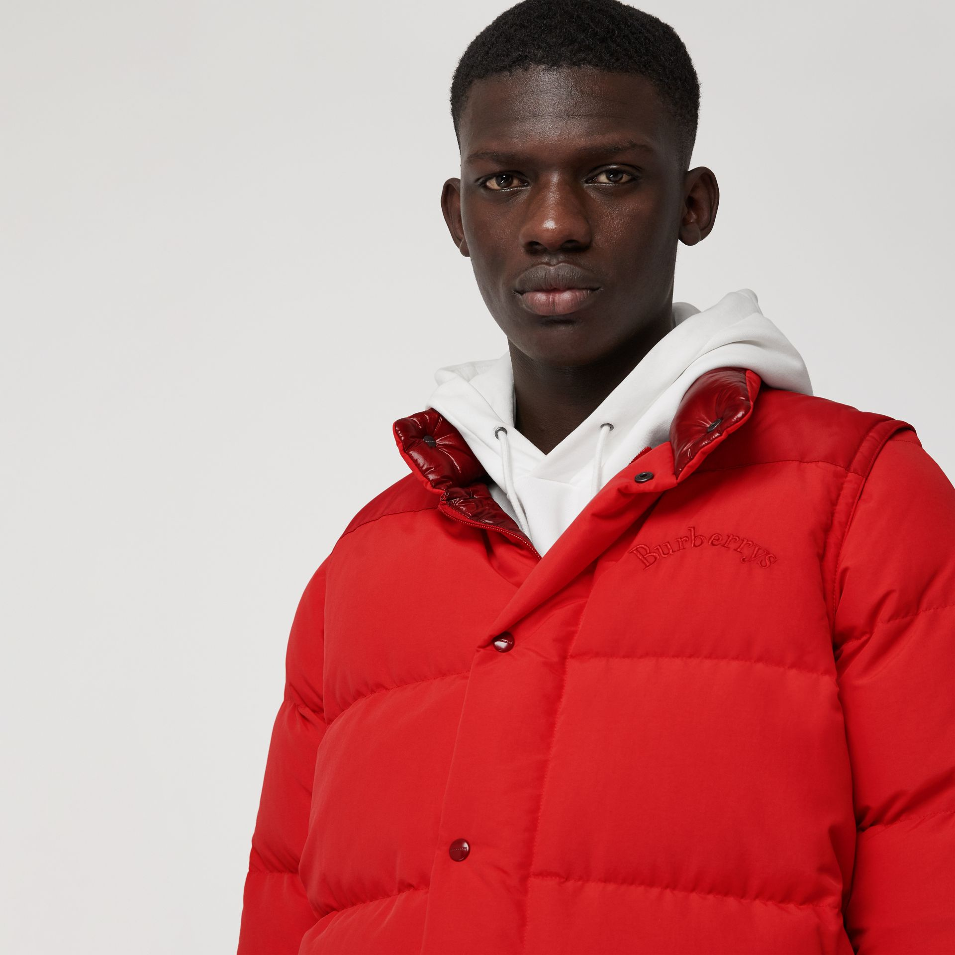 Detachable-sleeve Down-filled Puffer Jacket in Bright Red - Men | Burberry United Kingdom - gallery image 1