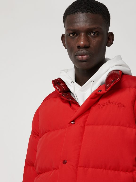Detachable-sleeve Down-filled Puffer Jacket in Bright Red - Men | Burberry - cell image 1