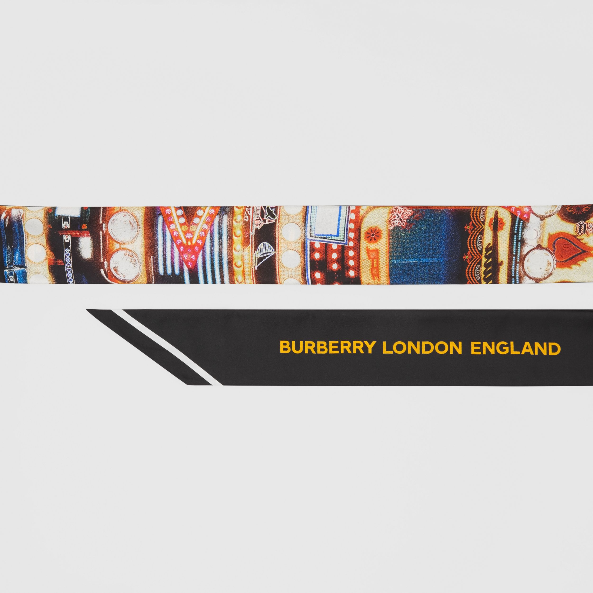 Montage Print Silk Skinny Scarf in Multicoloured | Burberry - 2