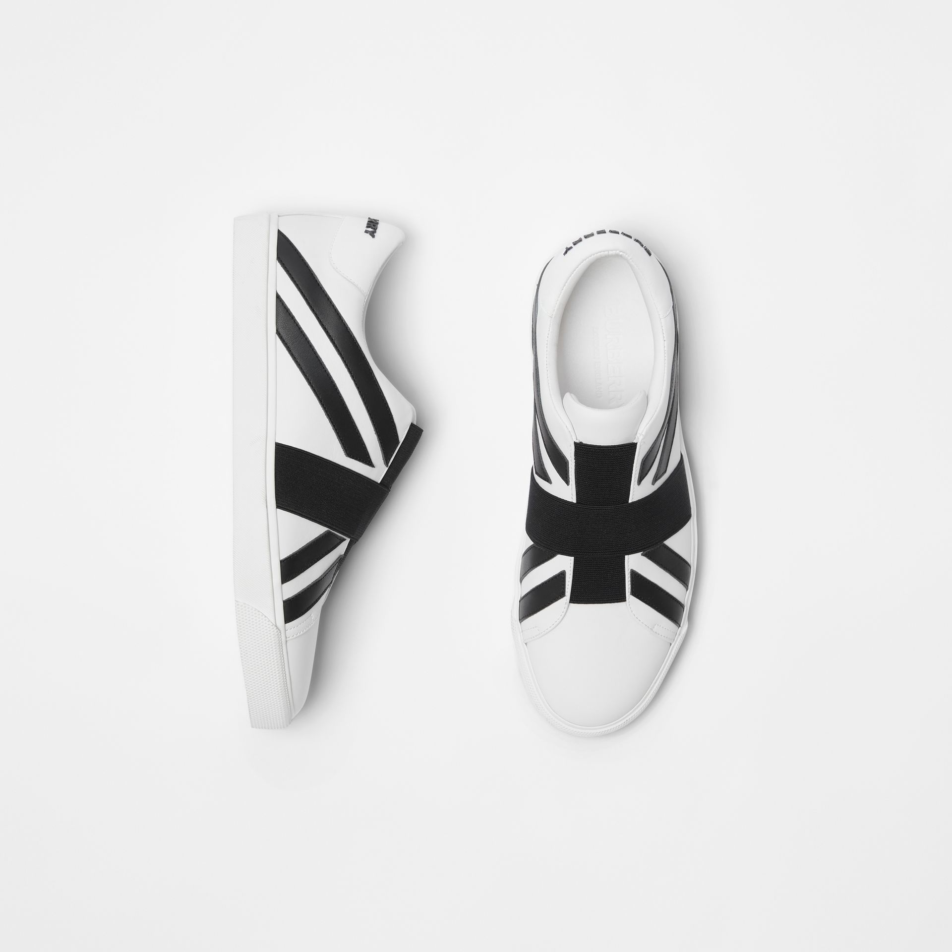 Union Jack Motif Slip-on Sneakers in White - Men | Burberry - gallery image 0