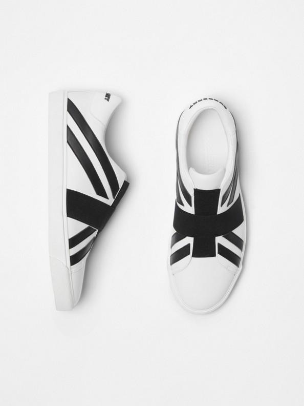 Sneakers sans lacets à motif UnionJack (Blanc)