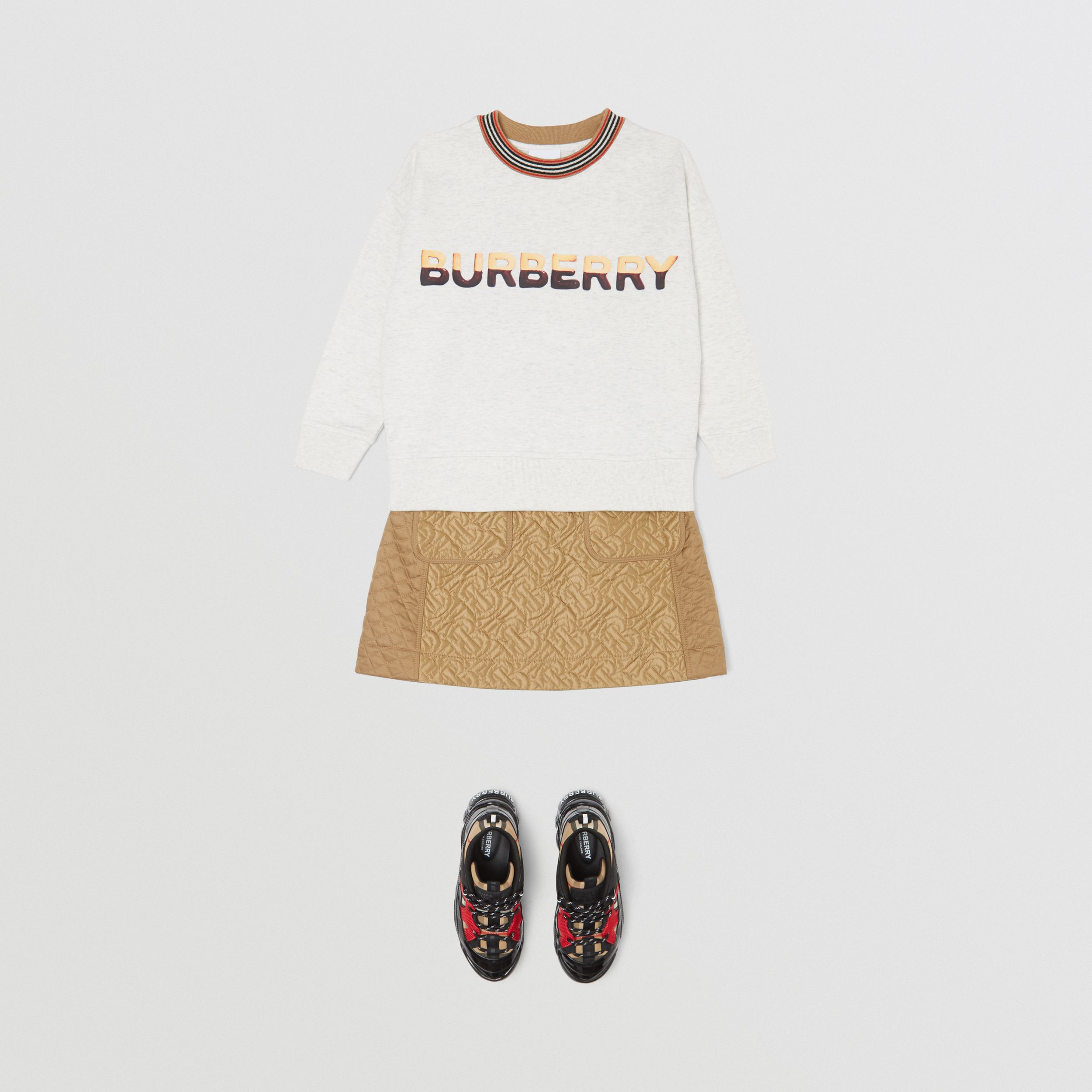Confectionery Logo Print Cotton Sweatshirt in White Melange | Burberry - 4
