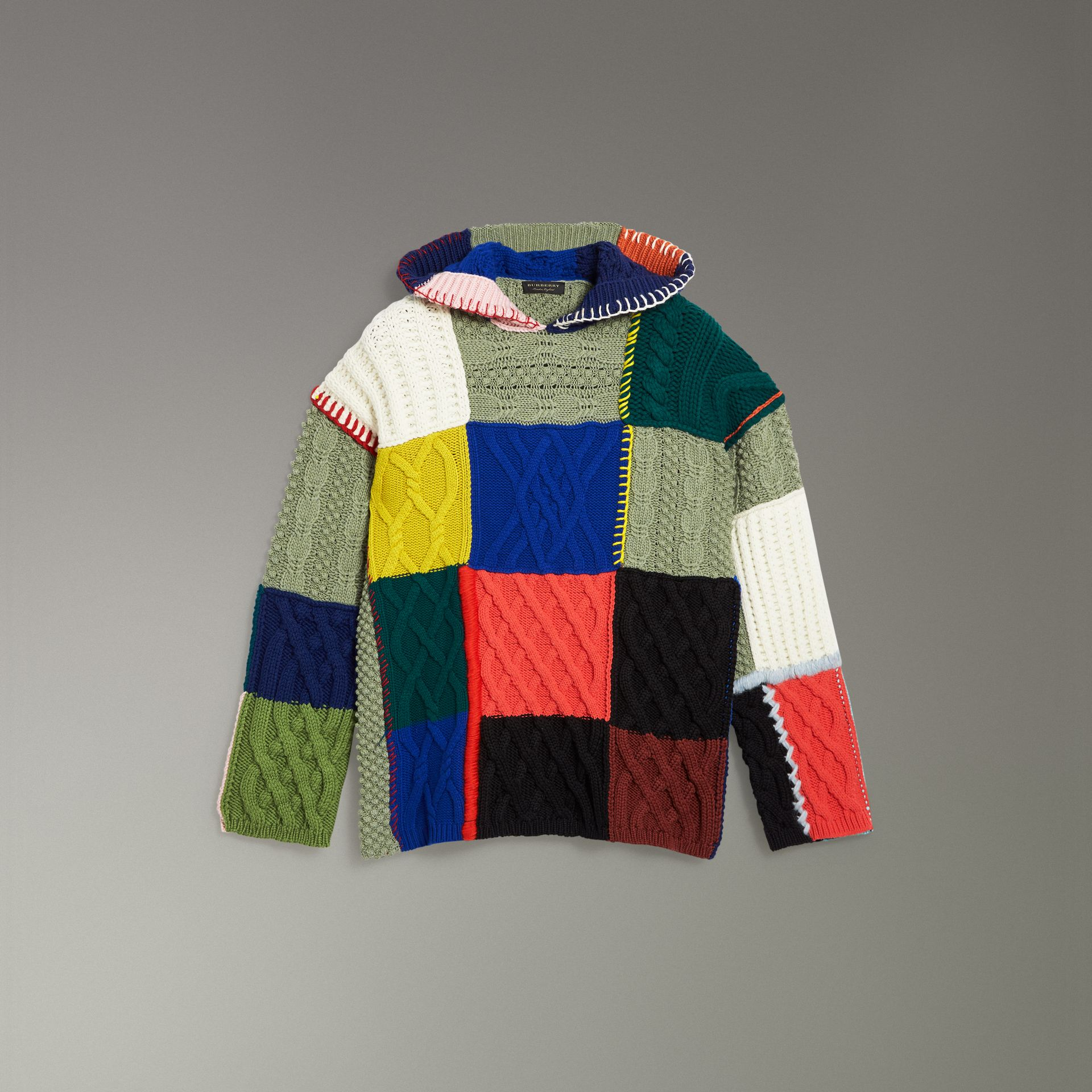Patchwork Wool Cotton Blend Hoodie in Multicolour - Women | Burberry - gallery image 3