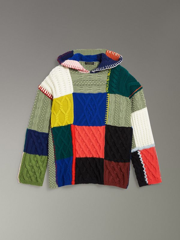 Patchwork Wool Cotton Blend Hoodie in Multicolour - Women | Burberry - cell image 3