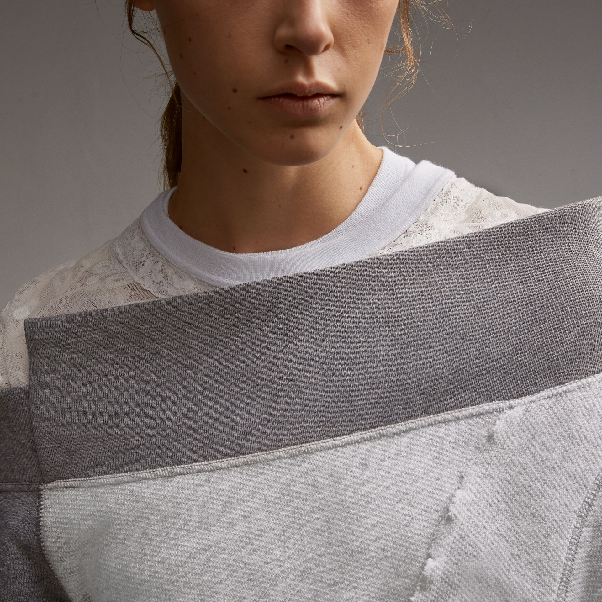 Sculptured-sleeve Seam Detail Sweatshirt in Grey Melange - Women | Burberry - gallery image 5