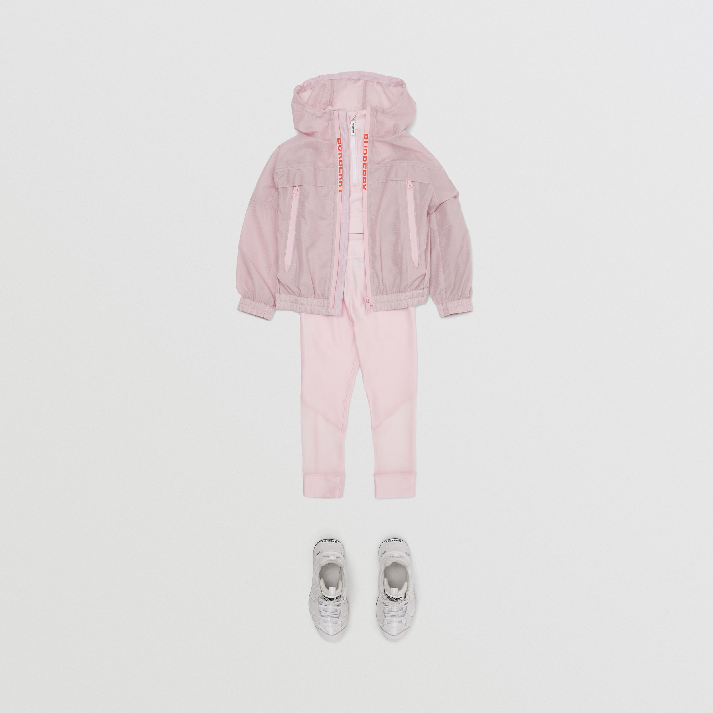 Logo Print Lightweight Hooded Jacket in Pastel Pink | Burberry - 3