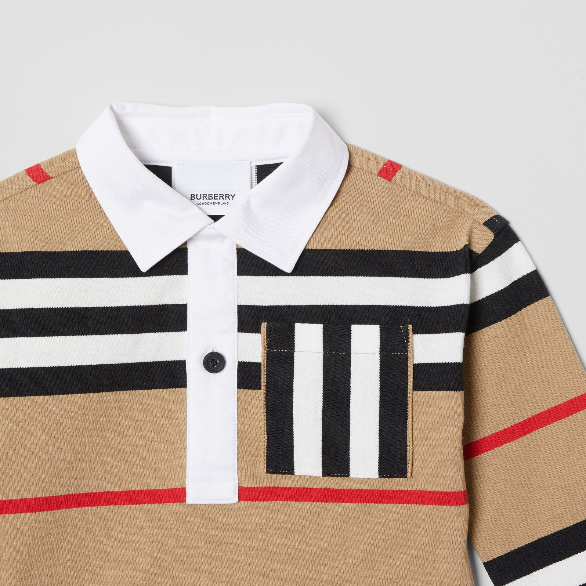 Long-sleeve Icon Stripe Cotton Top in Archive Beige - Children | Burberry United Kingdom - gallery image 4