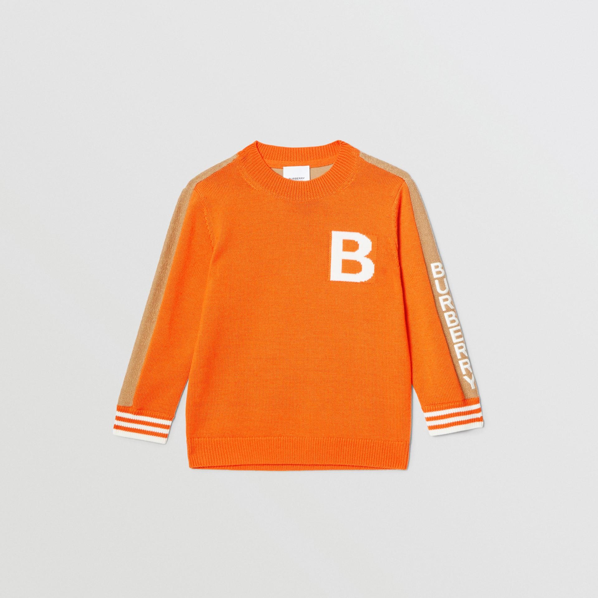 Bモチーフ メリノウール ジャカードセーター (ブライトオレンジ) | バーバリー - ギャラリーイメージ 0