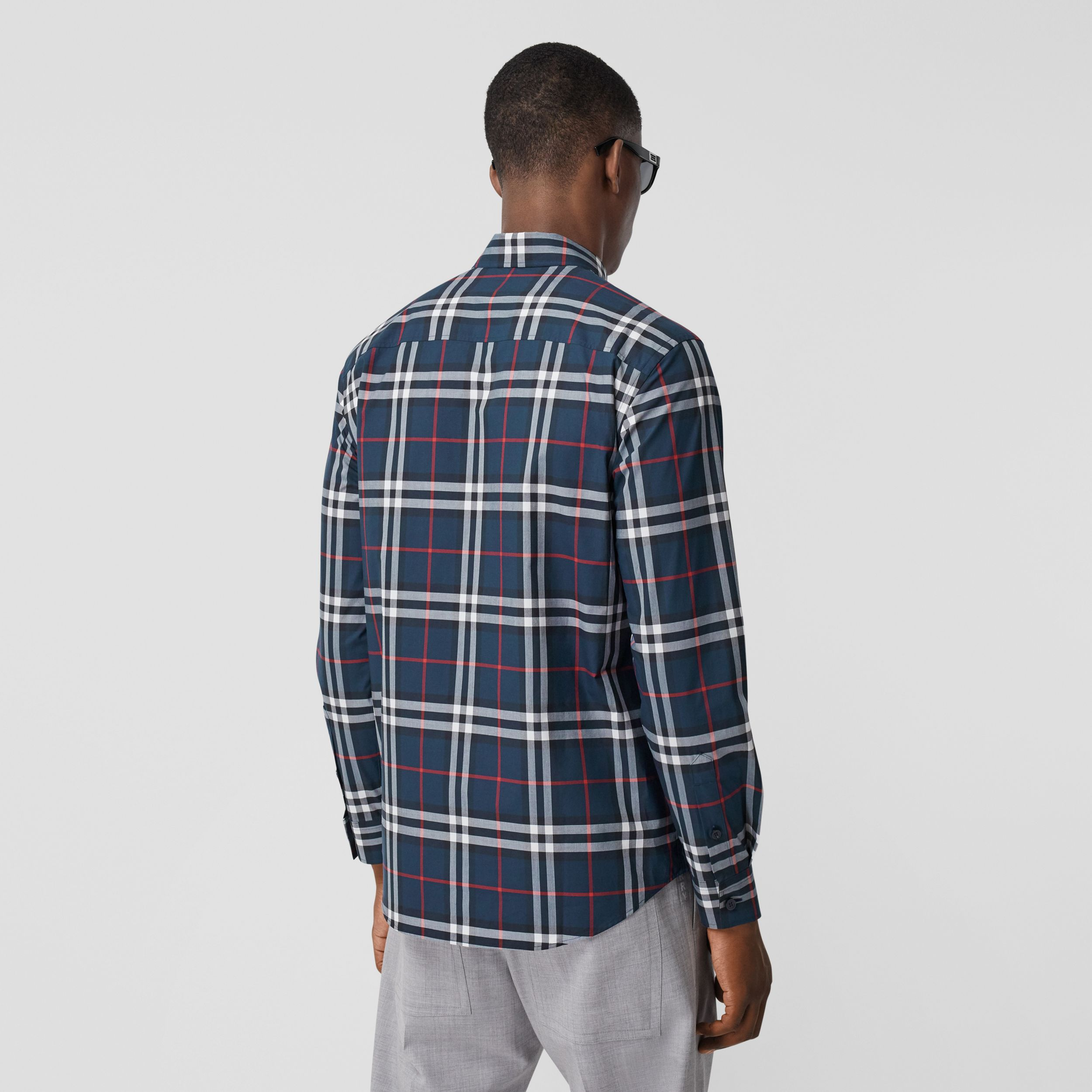 Classic Fit Swan Motif Check Cotton Shirt in Navy - Men | Burberry Australia - 3