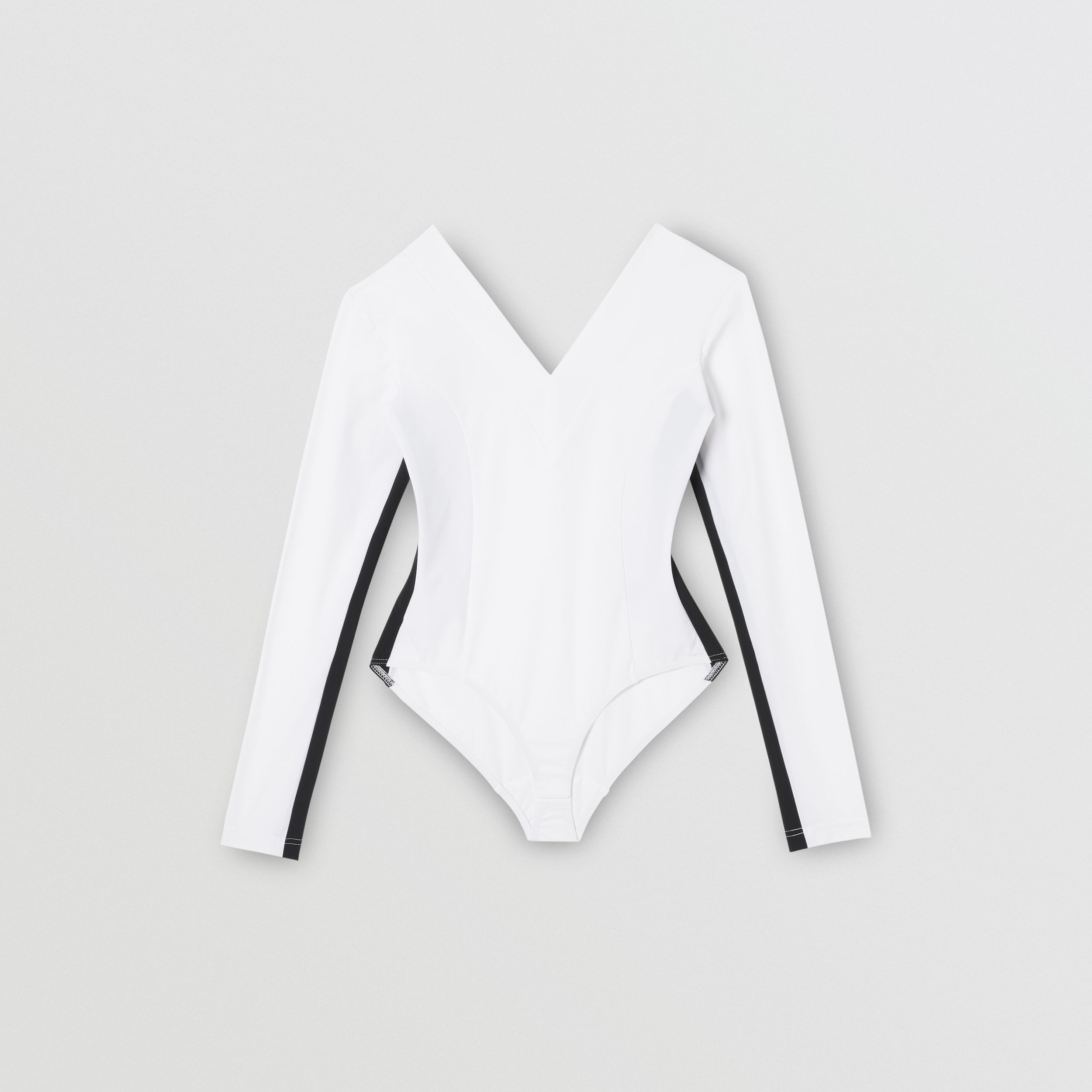 Two-tone Stretch Jersey Bodysuit in Optic White - Women | Burberry - 4